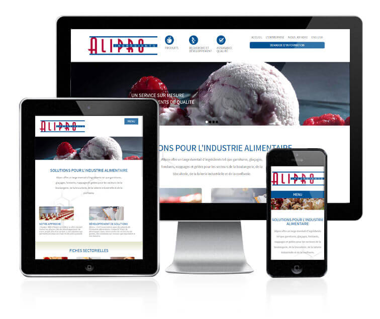 Design et conception du site web d'Alipro Mistral