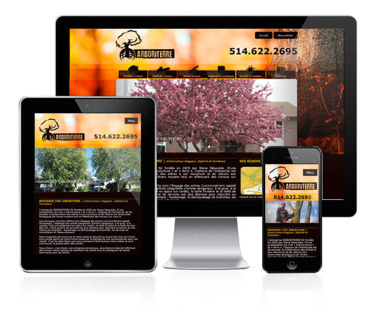Design et conception du site web de Arboriterre