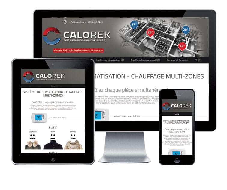 Design et conception du site web Calorek.