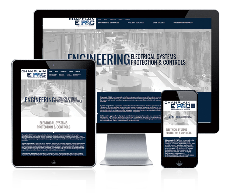 Design et conception du site web Champlain E P&C