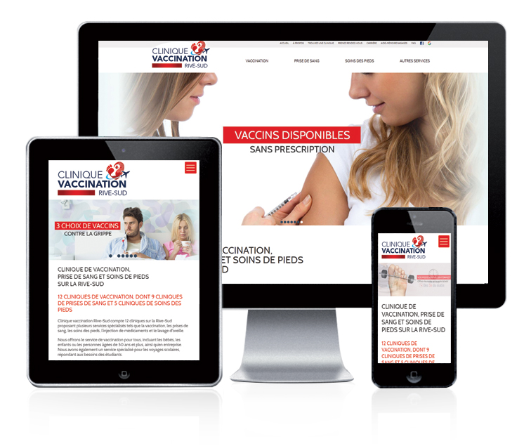 Design et conception du site web Clinique vaccination Rive-Sud