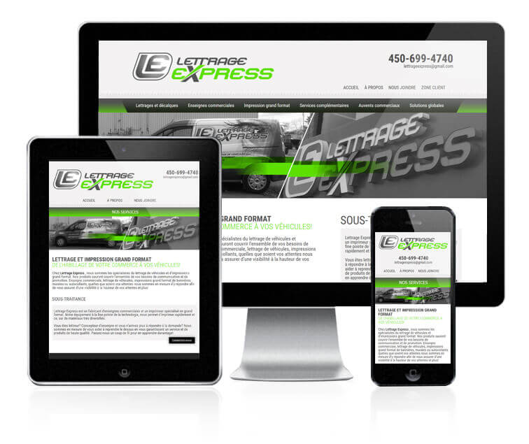 Design et conception du site web de Lettrage express