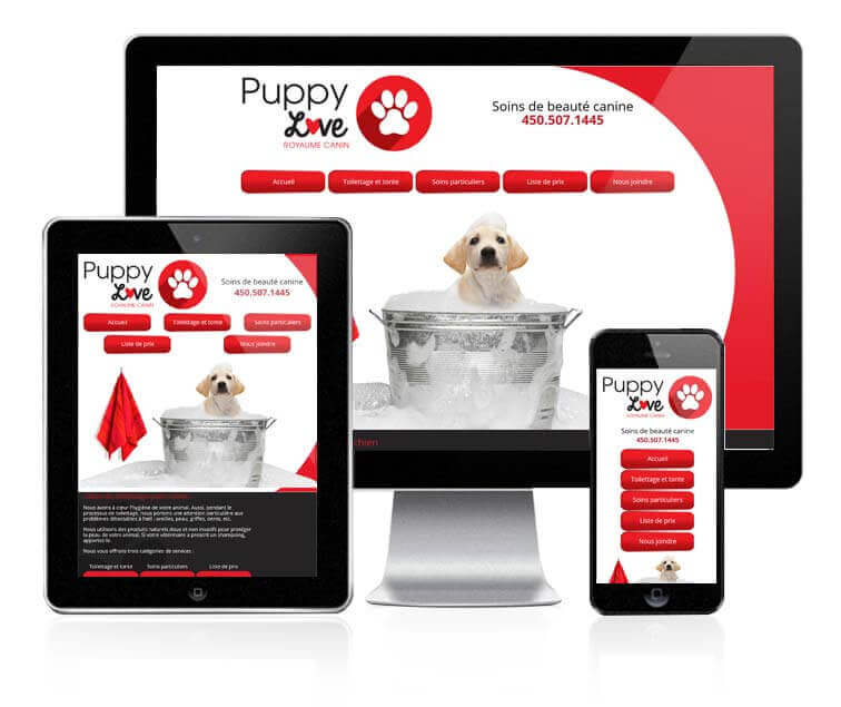 Design et conception du site web de Puppy Love