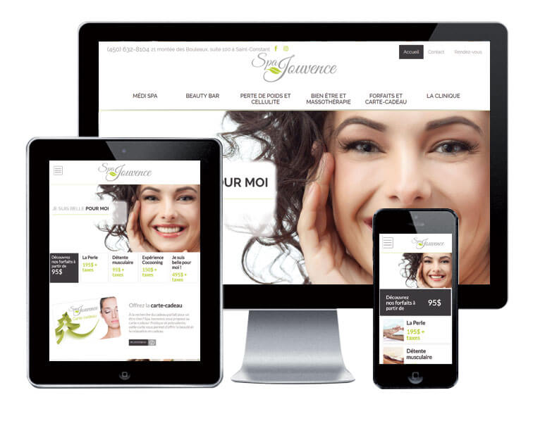 Design et conception du site web Spa Jouvence.