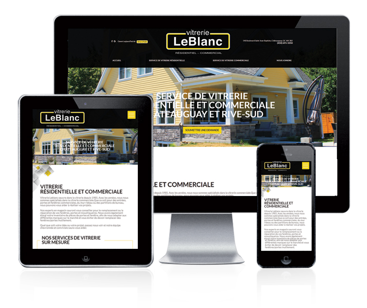 Design et conception du site web Vitrerie Leblanc
