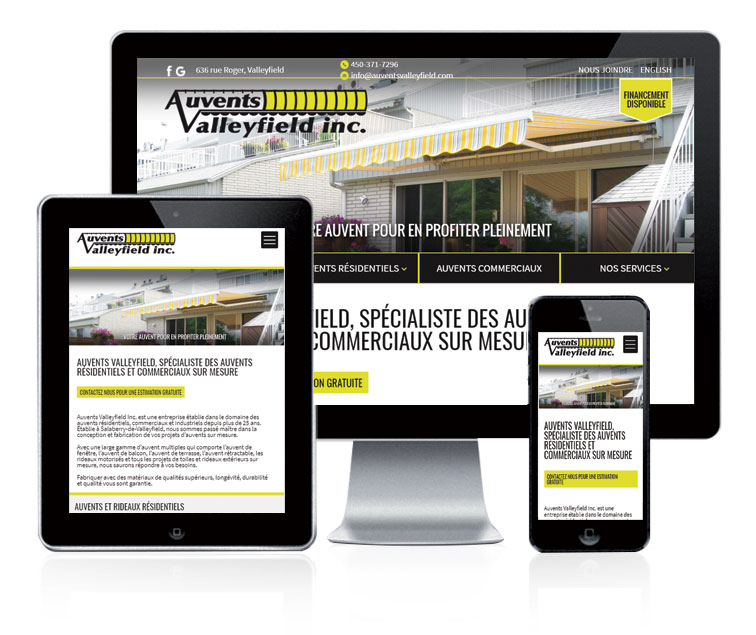 Design et conception du site web Auvents Valleyfield