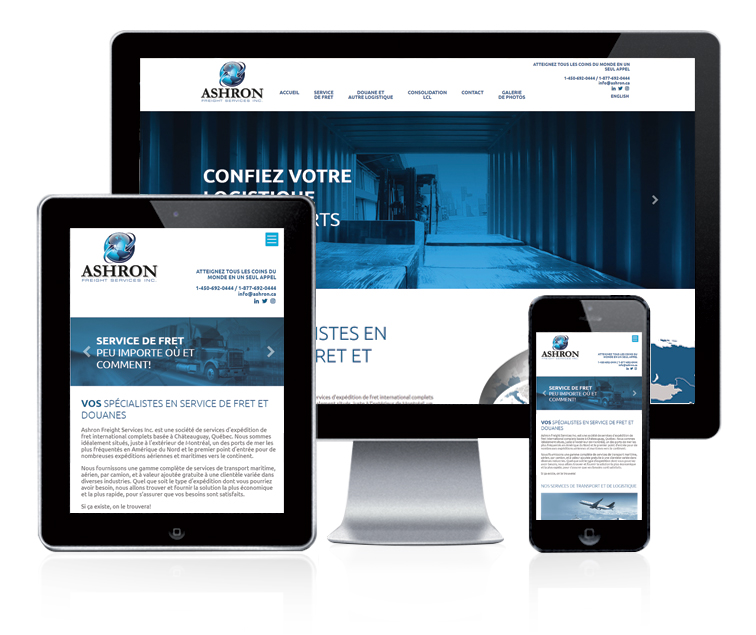 Design et conception du site web Ashron Freight Services Inc.